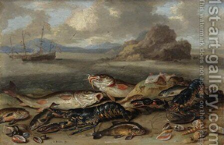 Lobsters, red mullet, halibut, flounder and other fish, with sea shells on a beach, shipping beyond by Jan van Kessel - Reproduction Oil Painting