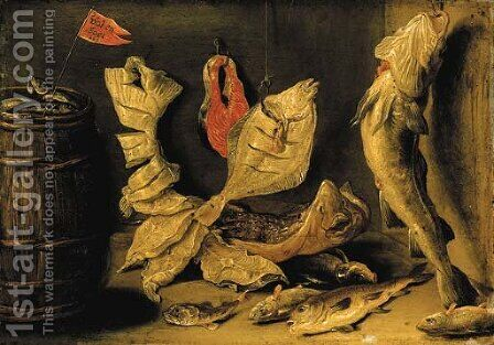 Plaice, skate and other fish beside a barrel by Jan van Kessel - Reproduction Oil Painting