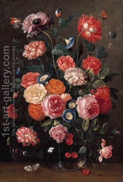 Roses, carnations, morning glory, a poppy and a sprig of cherries in a glass vase, a wall brown, an orange tip by Jan van Kessel - Reproduction Oil Painting