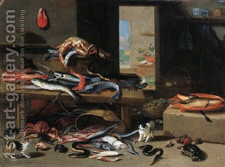 Cats chasing eel, octopus, crab falling from an upturned basket, with a crayfish, sturgeon and other fish on a table nearby by Jan van Kessel - Reproduction Oil Painting