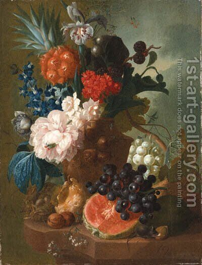 A peony, an iris, a pineapple, blackberries, narcissi and other flowers in a terracotta vase, with a bird's nest, a mouse, a melon, grapes and walnuts by Jan van Os - Reproduction Oil Painting