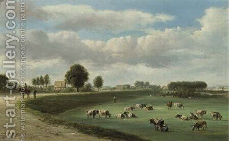 A panoramic view of a river landscape with cows in the forelands by Jan Van Ravenswaay - Reproduction Oil Painting