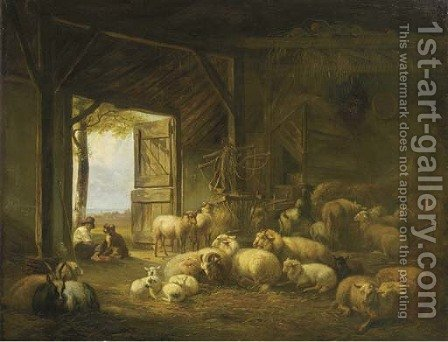 At rest in a barn by Jan Van Ravenswaay - Reproduction Oil Painting