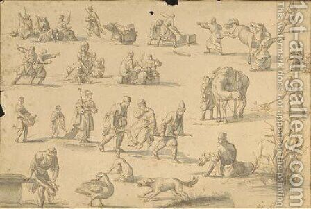 Studies of orientals spinning wool, smoking, horse coping, fishing, washing and in other postures by Jan Van Ravenswaay - Reproduction Oil Painting