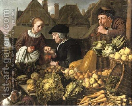 A young woman buying fruit from an old woman at a market, a man smoking a pipe nearby by Jan Victors - Reproduction Oil Painting