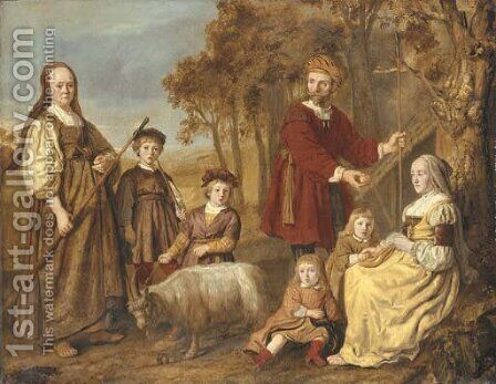 Group portrait of a family, full-length, in pastoral dress, in a landscape by Jan Victors - Reproduction Oil Painting