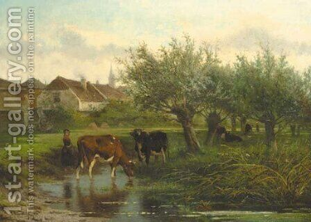 A cowherdess watering cows by willow trees by Jan Volijk - Reproduction Oil Painting