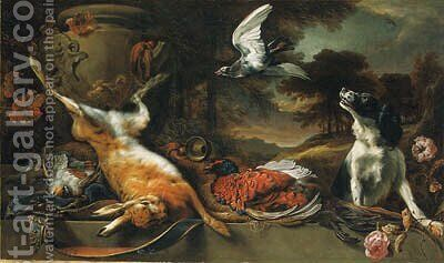 A spaniel and a pigeon with a brace of partridge, a cock pheasant and a hare, a horn, and a satchel with a stone urn on a ledge with roses by Jan Weenix - Reproduction Oil Painting