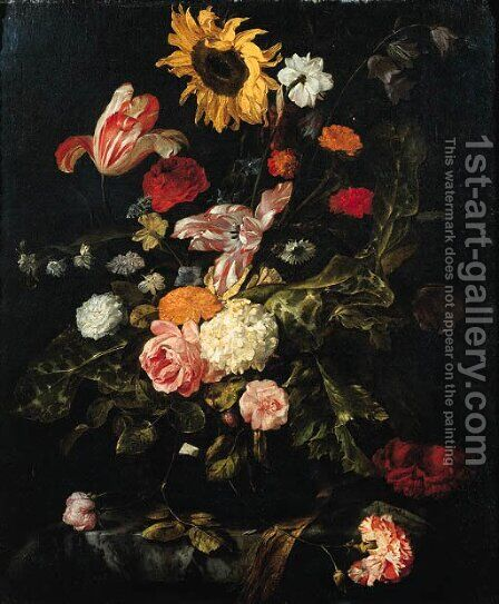 A sunflower, roses, parrot tulips, a carnation and other flowers in a glass vase on a partly draped marble table by Jan Weenix - Reproduction Oil Painting