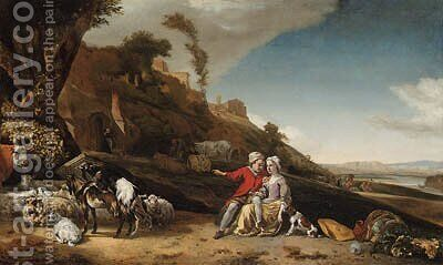A young couple with goats and sheep in an Italianate landscape by Jan Weenix - Reproduction Oil Painting