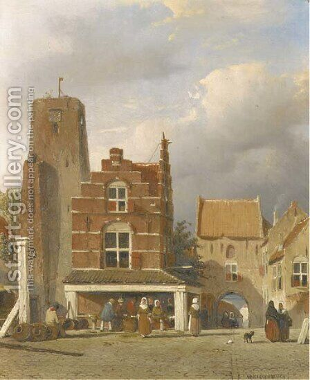 De markt te Woudrichem met de Hoftoren figures on a market square by Jan Weissenbruch - Reproduction Oil Painting