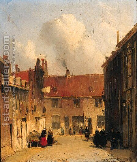 Villagers in a sunlit street by Jan Weissenbruch - Reproduction Oil Painting
