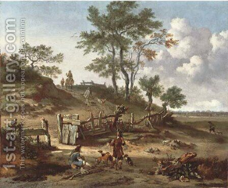 A hilly landscape with a huntsman and a falconer resting by a gate and other huntsmen on a path by Jan Wijnants - Reproduction Oil Painting