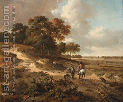Sportsmen on a path in the dunes by Jan Wijnants - Reproduction Oil Painting