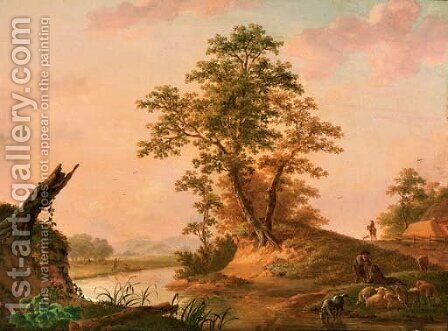 A river landscape with shepherds watering their flock by Jan Willem Surmont - Reproduction Oil Painting