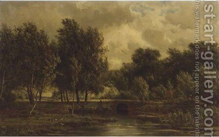 A polder landscape near Gouda by Jan Willem Van Borselen - Reproduction Oil Painting