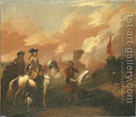 Two cavalry officers surveying the bombardment of a castle by Jan Wyck - Reproduction Oil Painting