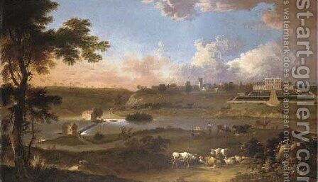 View Of Sprotborough Hall, Near Doncaster, Yorkshire, With Cattle And Herdsman On The Banks Of The River Don Before by Jan Wyck - Reproduction Oil Painting