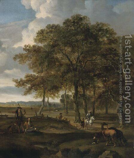 A landscape with a hawking party and hare coursing by Jan Wynants - Reproduction Oil Painting