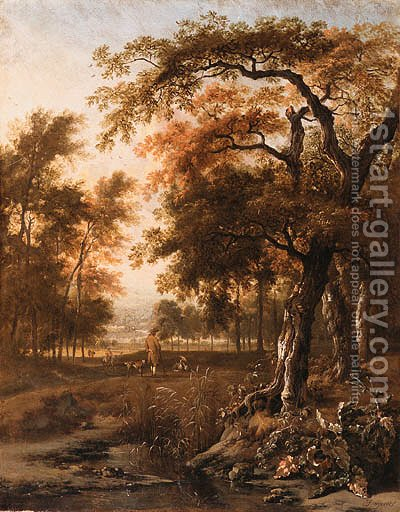 A wooded Landscape with Huntsmen resting by a path by Jan Wynants - Reproduction Oil Painting