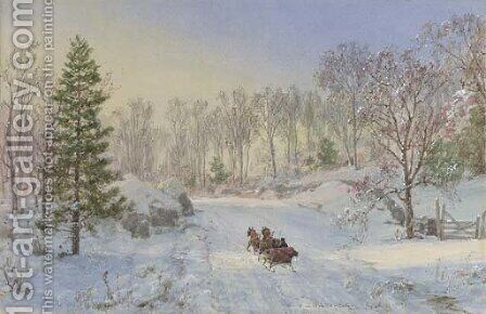 Evening Sleigh Ride, Ravensdale Road, Hastings-on-Hudson, New York by Jasper Francis Cropsey - Reproduction Oil Painting