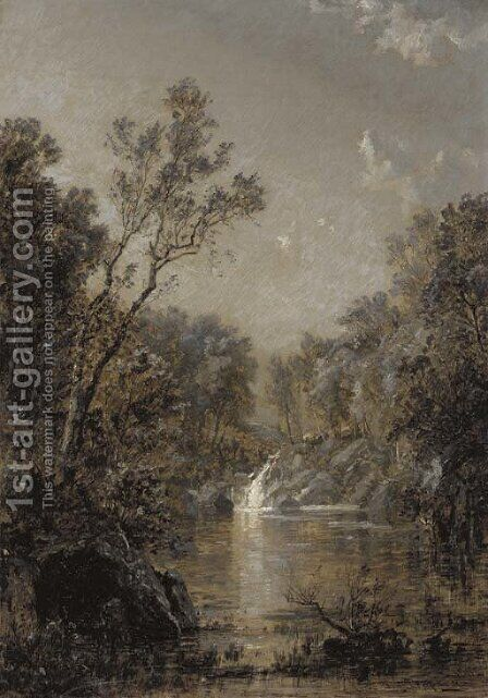 The Waterfall by Jasper Francis Cropsey - Reproduction Oil Painting