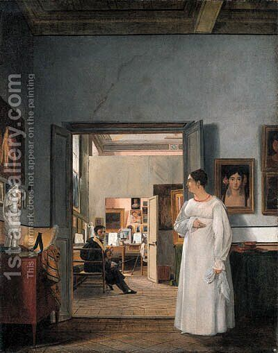 The Atelier of Ingres in Rome by Jean Alaux - Reproduction Oil Painting