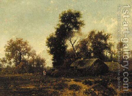 Figures in a wooded landscape by cottages by Jean Alexis Achard - Reproduction Oil Painting