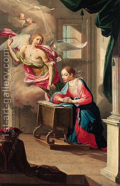 The Annunciation by Jean Andre Sirani - Reproduction Oil Painting