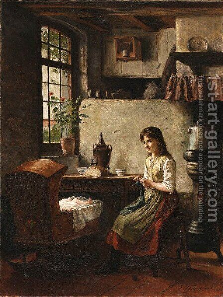Minding the baby by Heyermans - Reproduction Oil Painting