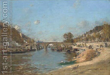 Pont Marie, Paris by Jean Baptiste Antoine Guillemet - Reproduction Oil Painting