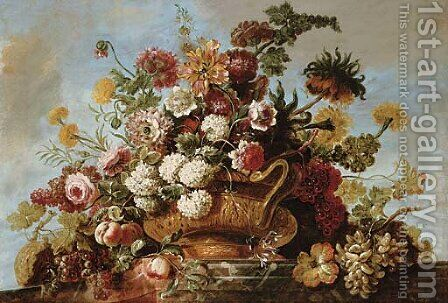 Flowers in a terracotta vase with fruit on a ledge by Jean Baptiste Belin de Fontenay - Reproduction Oil Painting