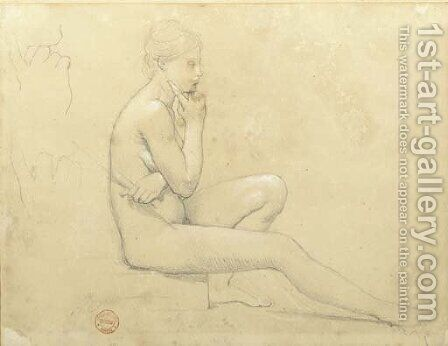 A young nude woman seated in profile to the right, with subsidiary studies of her hand by Jean Auguste Dominique Ingres - Reproduction Oil Painting