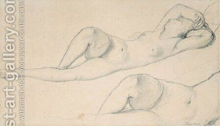 A reclining female Nude by Jean Auguste Dominique Ingres - Reproduction Oil Painting