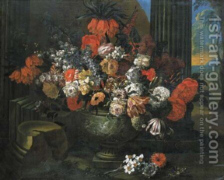 Tulips, roses, carnations and other flowers in a sculpted vase before a column, a landscape beyond by Jan-baptist Bosschaert - Reproduction Oil Painting