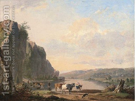 A mountainous landscape with cattle watering by a river by Jan Baptiste de Jonghe - Reproduction Oil Painting