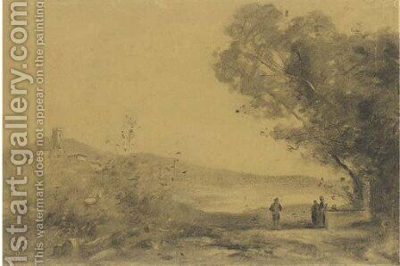 A landscape with a hilltown in the background, three figures to the right by Jean-Baptiste-Camille Corot - Reproduction Oil Painting