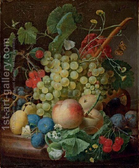 Grapes, cherries, peaches, greengages, plums, daisies and a butterfly on a marble ledge by Jan Frans Eliaerts - Reproduction Oil Painting