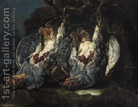 Dead partridges suspended from ropes on a tree in a forest by Jan Fyt - Reproduction Oil Painting