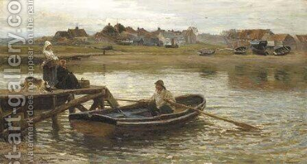 Walberswick Ferry (1875) by Hamilton Macallum - Reproduction Oil Painting