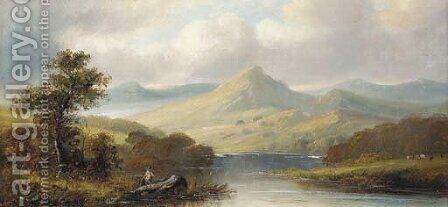 An angler in a mountainous landscape by J. Westall - Reproduction Oil Painting