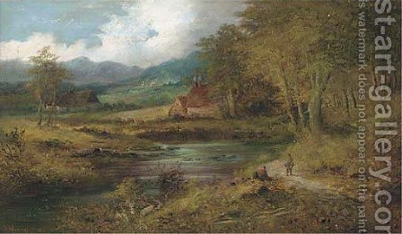 Figures on a country track beside a pool by J. Westall - Reproduction Oil Painting