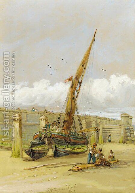 A Beached ship by James Wilson Carmichael - Reproduction Oil Painting
