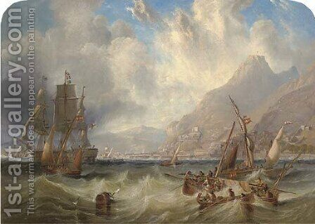 A large Second Rate, probably H.M.S. Asia, passing through local small craft off Gibraltar by James Wilson Carmichael - Reproduction Oil Painting