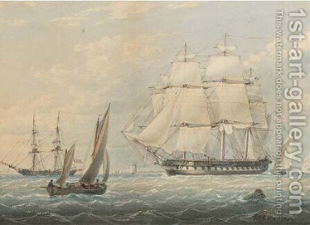 A Royal Naval frigate amidst other shipping at Spithead by James Wilson Carmichael - Reproduction Oil Painting