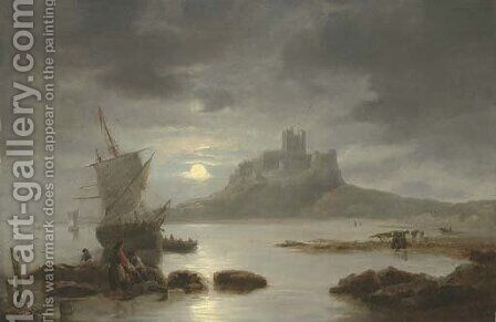 Bamburgh Castle by moonlight, with figures and boats in the foreground by James Wilson Carmichael - Reproduction Oil Painting