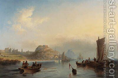 Fishing boats off Holy Island, Northumberland, with Lindisfarne Abbey and castle in the distance by James Wilson Carmichael - Reproduction Oil Painting