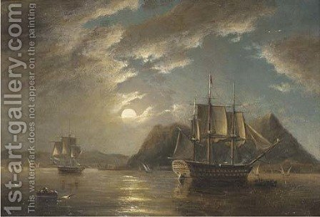 H.M.S. Minden 74, off Gibraltar, moonlight by James Wilson Carmichael - Reproduction Oil Painting