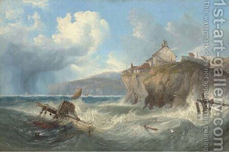 Wreckage in Robin Hood's Bay by James Wilson Carmichael - Reproduction Oil Painting