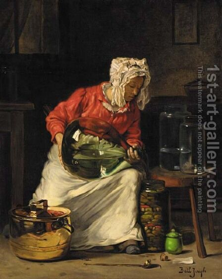 Preparing the jars by Claude Joseph Bail - Reproduction Oil Painting